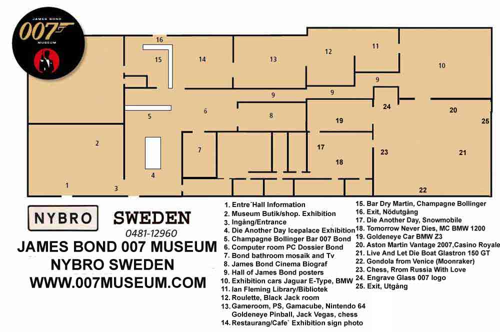 MAP OVER THE JAMES BOND 007 MUSEUM IN SWEDEN NYBRO over 900 square meter +4648112960 , www.007museum.com