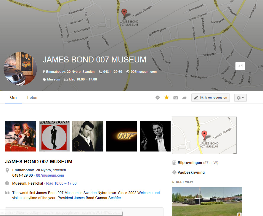 Travel to Sweden and visit the James Bond 007 Museum by airplane and train...
