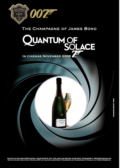 Affisch  James Bond  THE OFFICIAL CHAMPAGNE BOLLINGER POSTER OF JAMES BONDS QUANTUM OF SOLACE.   LA GRANDE ANNEÈE 1999