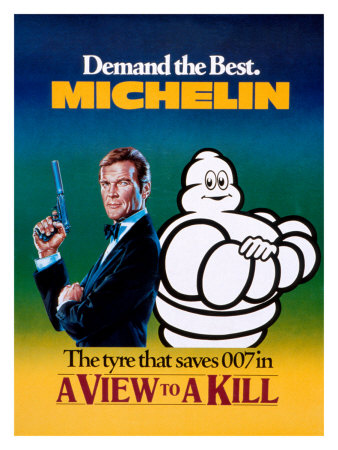 In 1985 Bibendum shared the limelight with James Bond in the film 'A view to a kill'. In a scene where Bond is trapped in a Rolls Royce pushed into a lake, he manages to escape by breathing air from the car's Michelin tyres.