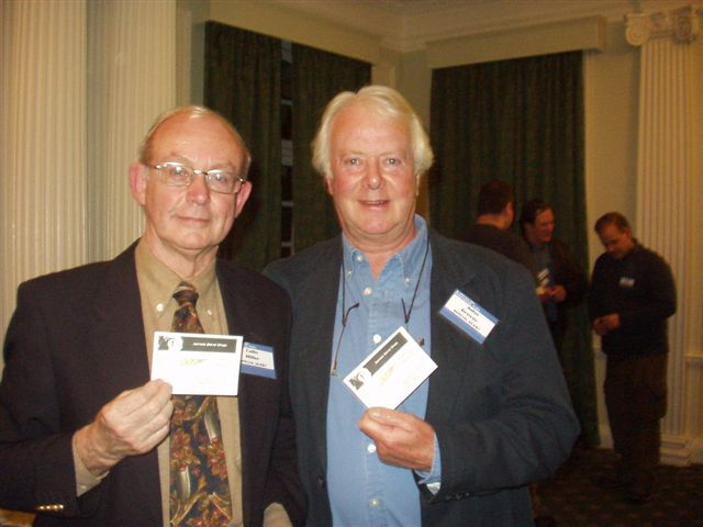 Colin Miller and John Grover with card from 007 museum in Sweden.Nybro