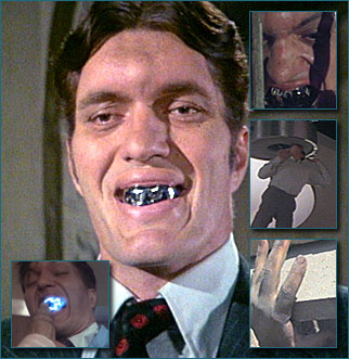 Jaws Played by: Richard Kiel.  Richard Kiel could only wear the metal teeth for a few minutes at a time because they hurt so much.