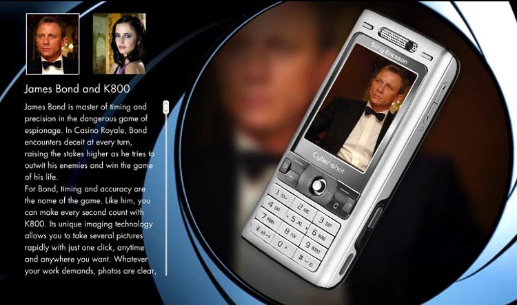 Sony-Ericsson K800i  James Bond. Danial Craig