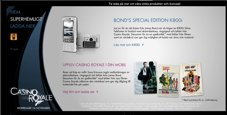 Sony-Ericsson  K800i  James  Bond. Edition  Upplev Casino Royale i din telefon