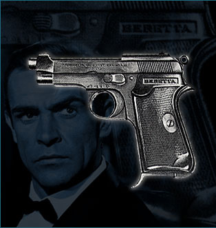 Bonds first gun Beretta Modelo 418.  In the movie, James Bond actually had a Beretta Modelo 1934, presumably because the studio could not get the proper and correct model 418.