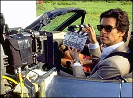 Brosnan on set with the 1996 BMW z3 Roadster