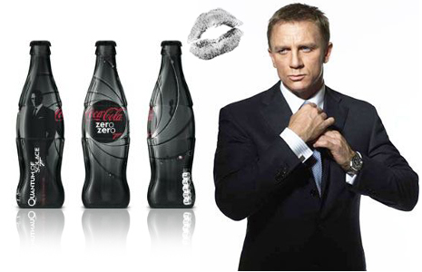 It seems that Daniel Craig aka James Bond may be switching from his favourite vodka martini (shaken, not stirred) to a new non-alcoholic beverage . Coca-Cola Great Britain has clinched a marketing deal with Sony Entertainment to link Coca-Cola Zero with the suave superspy's latest cinematic adventure, 'Quantum of Solace', due to be released in the UK on 31 October.