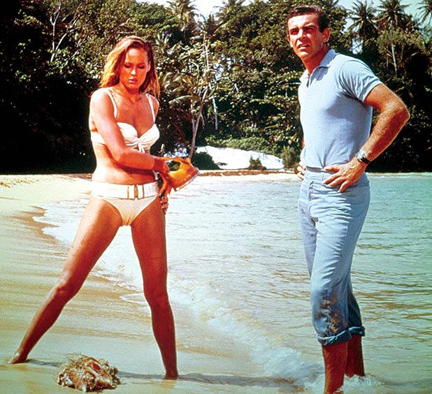 James Bond Sean Connery with Ursula Andress at the Dunn`s River Fall Ochios Rios Jamaica.
