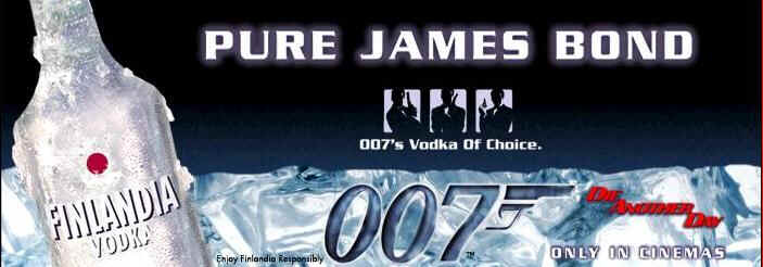 Finlandia Vodka in James Bond movie Die Another Day 2002 is one of the world's leading premium vodkas, available worldwide in more than 100 countries. It is a perfect choice for vodka drinkers who appreciate quality, purity and versatility. The refreshing, very clean taste allows Finlandia Vodka to transform from the purest on-the-rocks drink into the soul of the most imaginable cocktails.