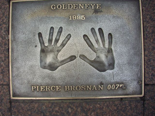 Leicester Square for the Premiere of GoldenEye Pierce Brosnan hands in Odeon Leicester Square, London Goldeneye 1995