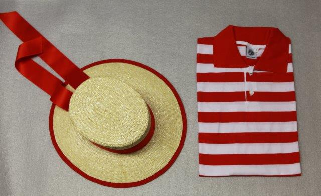Gondolier hat red and sweatshirt red