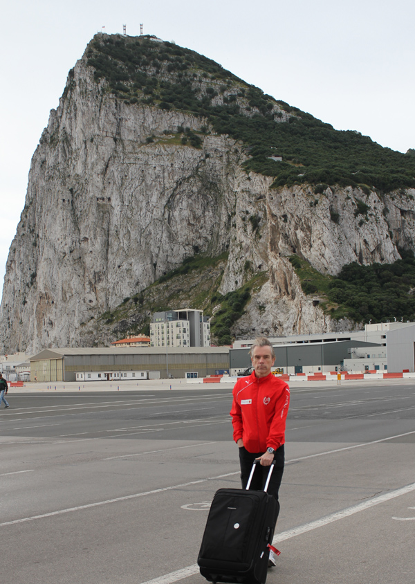 James Bond Gunnar Schäfer  avrives at the Gibraltar Rock, here on in front of the Airport.