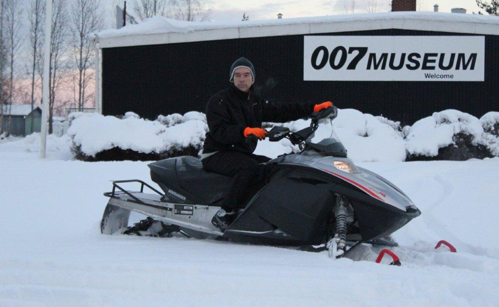 Winter in James Bond 007 Museum Sweden Nybro with James Bond on his Bombardier Ski-Doo MX Z (E) 600 HO (R) snowmobile featured in new James Bond film, Die Another Day 2002