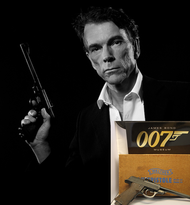 Walther LP53 air pistol held by Gunnar James Bond Schäfer from the 1963 From Russia With Love. in the 007 museum Nybro Sweden